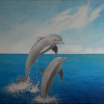 Acrylic dolphins painting 24 x 30