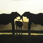 Acrylic elephants painting 30 x 40