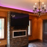 Faux grained crown, cases & baseboard moldings