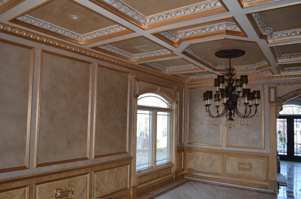 Metallic plaster in ceiling & wall panels - Jelber\'s Decorative Arts