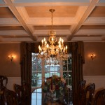 Venetian plaster coffered ceiling